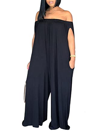 8f5181840f8 Baonmy Women s Off Shoulder Solid Color Wide Leg Plus Size Jumpsuits with  Pocket (Black