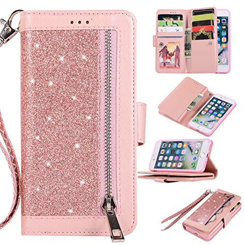 Shinyzone Wallet Phone Case for iPhone 8 with 9 Card Slots,iPhone 7 Glitter Leather Case with Zipper Pocket,Fashion Design with Hand Strap Magnetic Stand Flip [Dual Folio] Cover,Rose Gold from Shinyzone