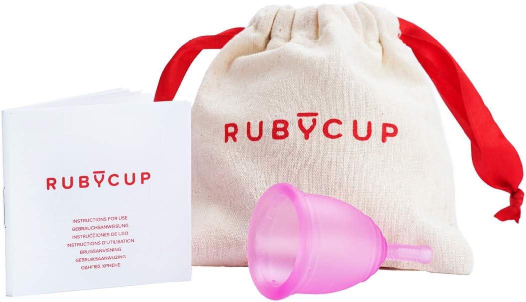 Ruby Cup - Copa menstrual hipoalergenica- talla M (grande, flujo abundante) – ROSA – Incluye donación de copa. Perfecta para principiantes. Una ...