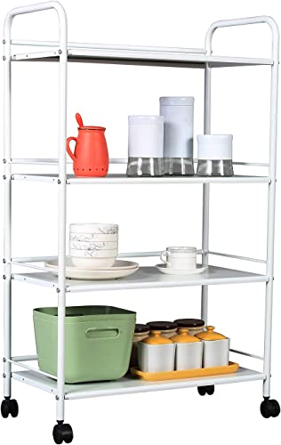 HOMEFORT 4-Tier Metal Rolling Utility Cart, 4-Shelf Storage Organizer with Wheels, Perfect for Home Office Kitchen Bathroom Organization. White