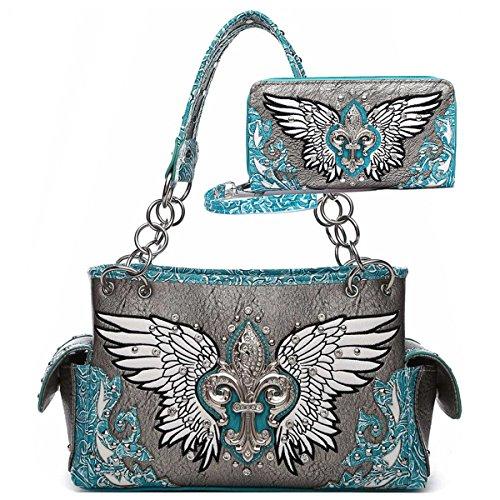 Wing Fleur - Western Fleur de Lis Wings Shoulder Bag Women Concealed Carry totes bag Handbags and Purses (Turquoise)
