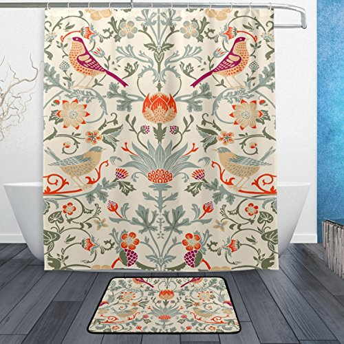 (BAIHUISHOP William Morris Flower PatternMachine Washable for Everyday Use,Includes 60x72 Inch Waterproof Shower Curtain, 12 Shower Hooks and 1 Non-slip Bathroom Rug Carpet - Set of 3)
