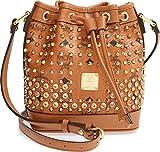MCM Cognac Leather Mini Diamond 24 Karat Swarovski Studded Bucket Bag