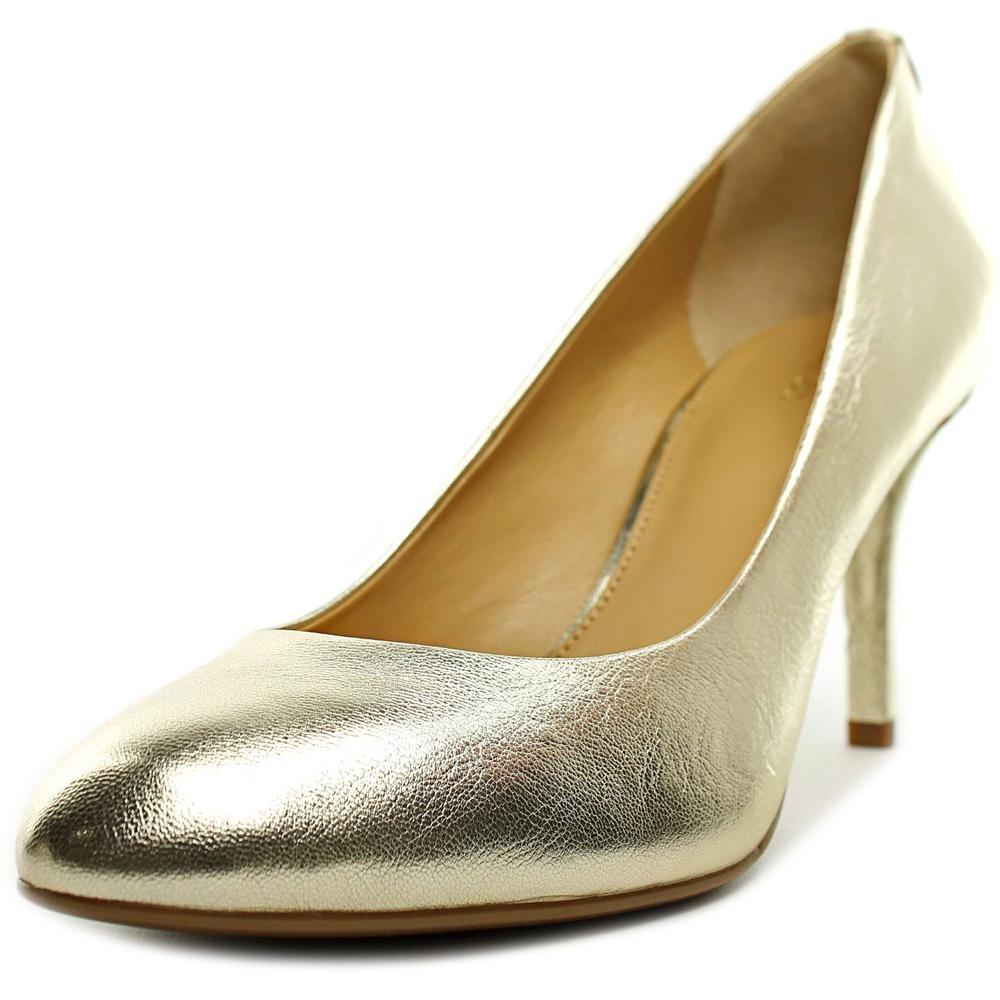 Michael Kors MK-Flex Pump Pale Gold Metallic Round Toe Medium Heel Shoe