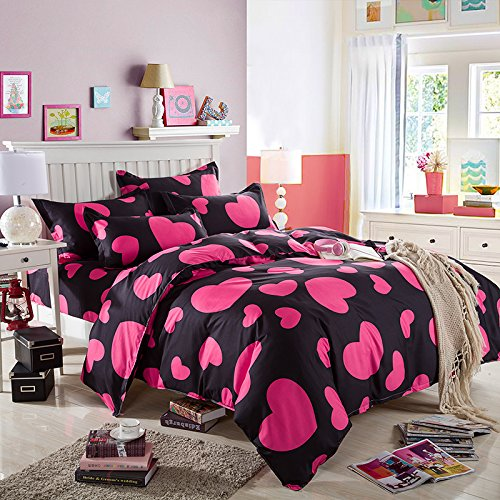 4 Piece Duvet Cover Bed sheet and Pillow Shams Bedding Set, pink red love loving heart black Microfiber Printed Reversible Design (Full, 4pcs without comforter-01)