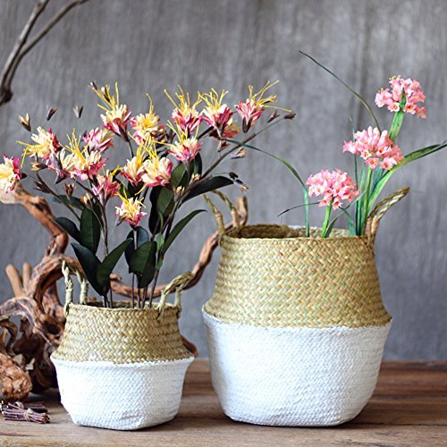 Samber Home Storage Organisation, Hand-Woven Foldable Plant Flower Pot Natural Seagrass Woven Basket Toy Storage Basket Wovening Laundry Basket Foldable Handcraft Weave Belly Basket with Handle(B/L) by Samber (Image #3)