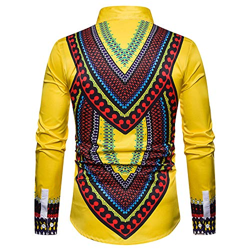Homme Jaune Longues Hawaienne Aimee7 Manches Imprimer Africain À Chemisier Style Chemise avaq1cwE