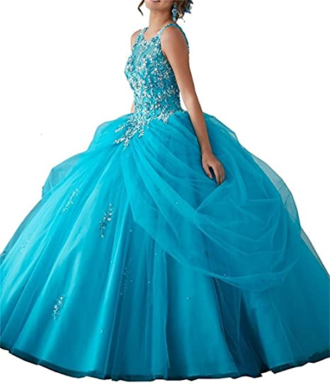 ANJURUISI Women Scoop Neck Quinceanera Ball Gowns Beading Pageant Prom Dresses Blue-UK6
