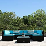 Yardeen 7 PC Rattan Wicker Sofa Set Sectional Couch Cushioned Furniture Patio Outdoor Color Blue For Sale