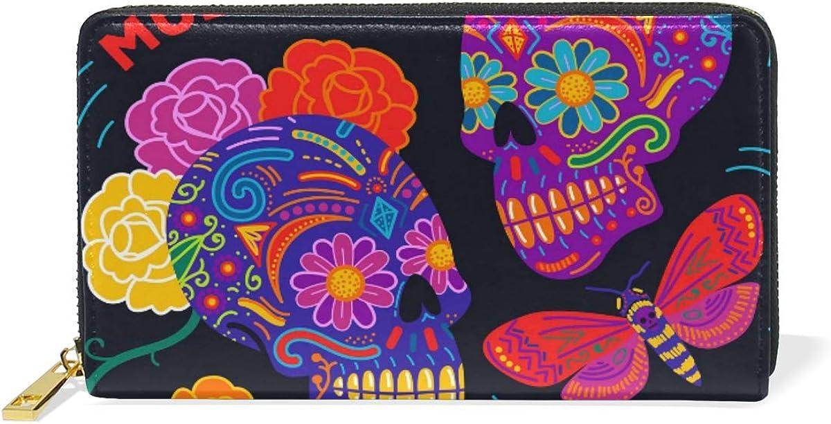 Purple Skull Butterfly Wallet Real Leather Zipper Coin Phone Purse Clutch for Women
