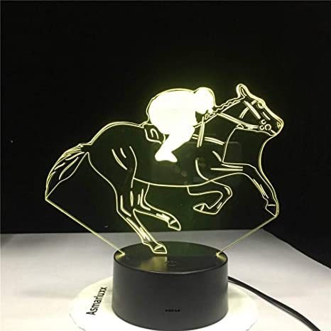 KangYD Horse Racing 3D Night Light, LED Lámpara de mesa de ...
