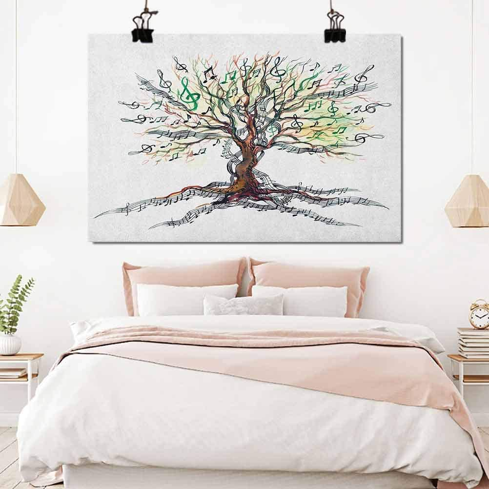Music Picture Art Musical Tree Autumnal Clef Trunk Swirl Nature Illustration Leaves Creative Design Baby Room Decorations for Girls 16x12 inch