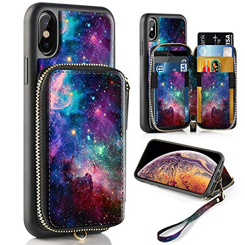 - ZVE Case for Apple iPhone Xs and iPhone X, 5.8 inch, Zipper Wallet Case of Leather Shockproof Cover with Credit Card Holder Slot Handbag Purse Print Cover for Apple iPhone Xs and X - Starry Sky