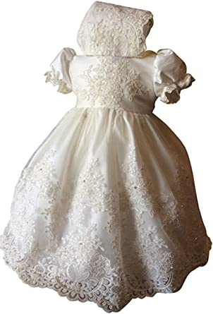Faithclover Long Lace Christening Baptism Gowns Baby Girls Toddler Floral Lace Special Occasions Dresses Bonnet