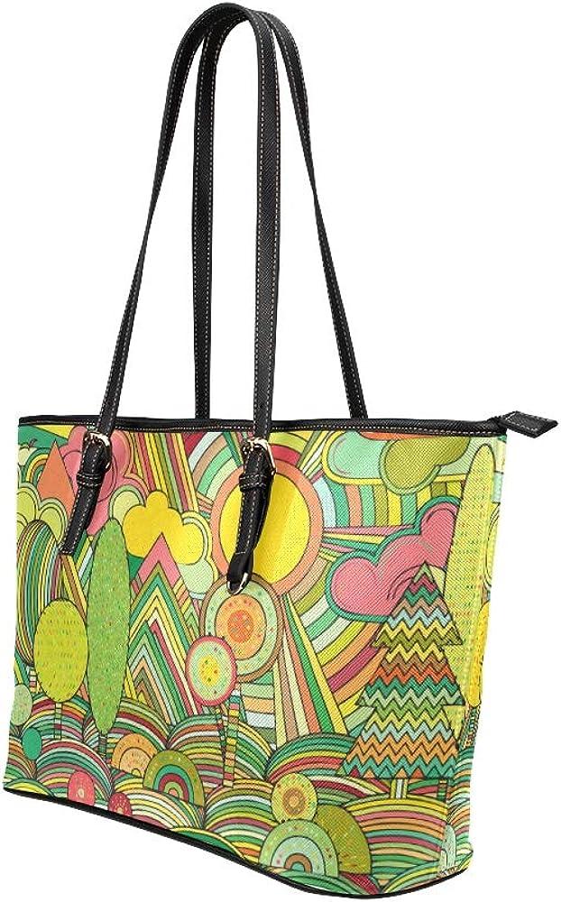 Travel Shoulder Bag For Men Spring Fashion Cute Cartoon Sunshine Leather Hand Totes Bag Causal Handbags Zipped Shoulder Organizer For Lady Girls Womens Hand Bag For Mens