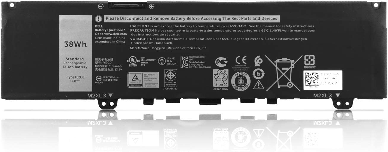 Fully F62G0 Replacement Laptop Battery Compatible with Dell Inspiron 13 5370 7370 7373 7380 7386 P83G P83G001 P83G002 Vostro 13 5370 D1525S D1505G R1605S D2505G Series Notebook F62GO RPJC3 39DY5