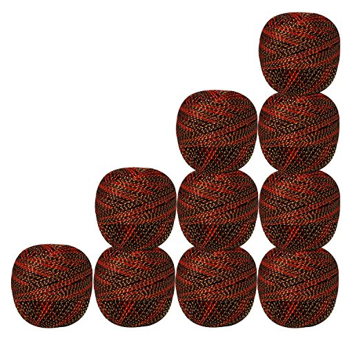 Set of 10 Pcs Gold Brown & Red with Metallic Golden Crochet Thread Cross Stitch Knitting Tatting Doilies Yarn by CraftyArt