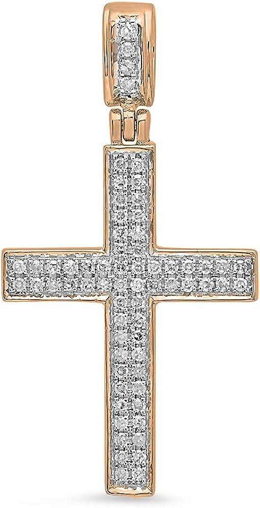 Dazzlingrock Collection 10kt Yellow Gold Womens Round Diamond Cross Pendant 1//20 Cttw