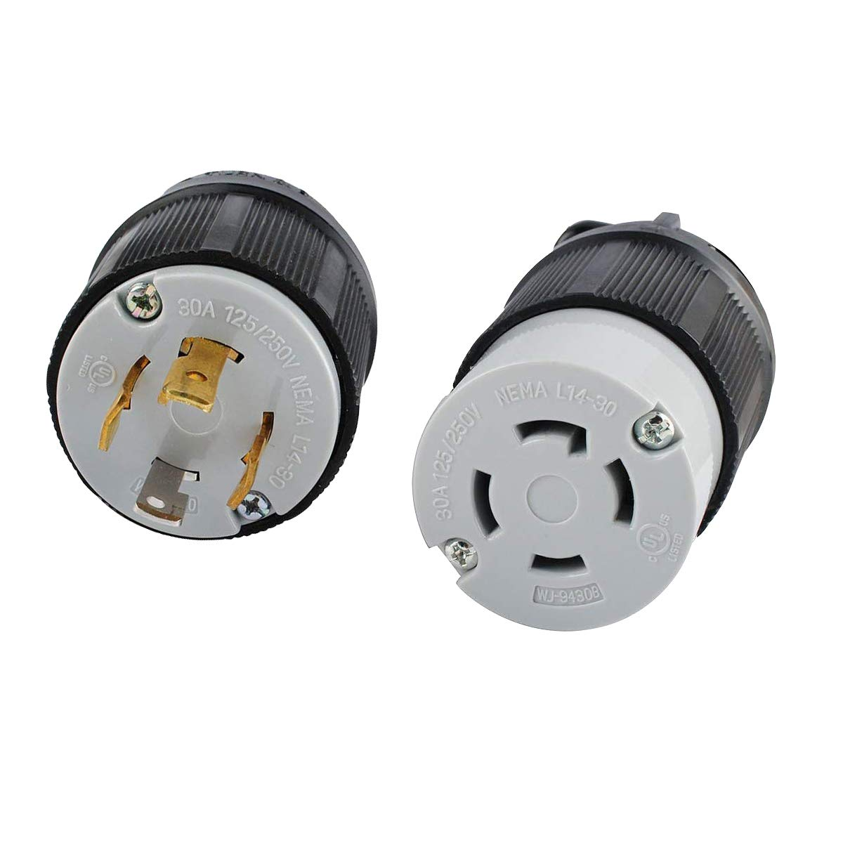 L14-30 L14-30R Connector and L14-30P Plug Set for 30A, 125/250V, 7500W Generators by Wadoy