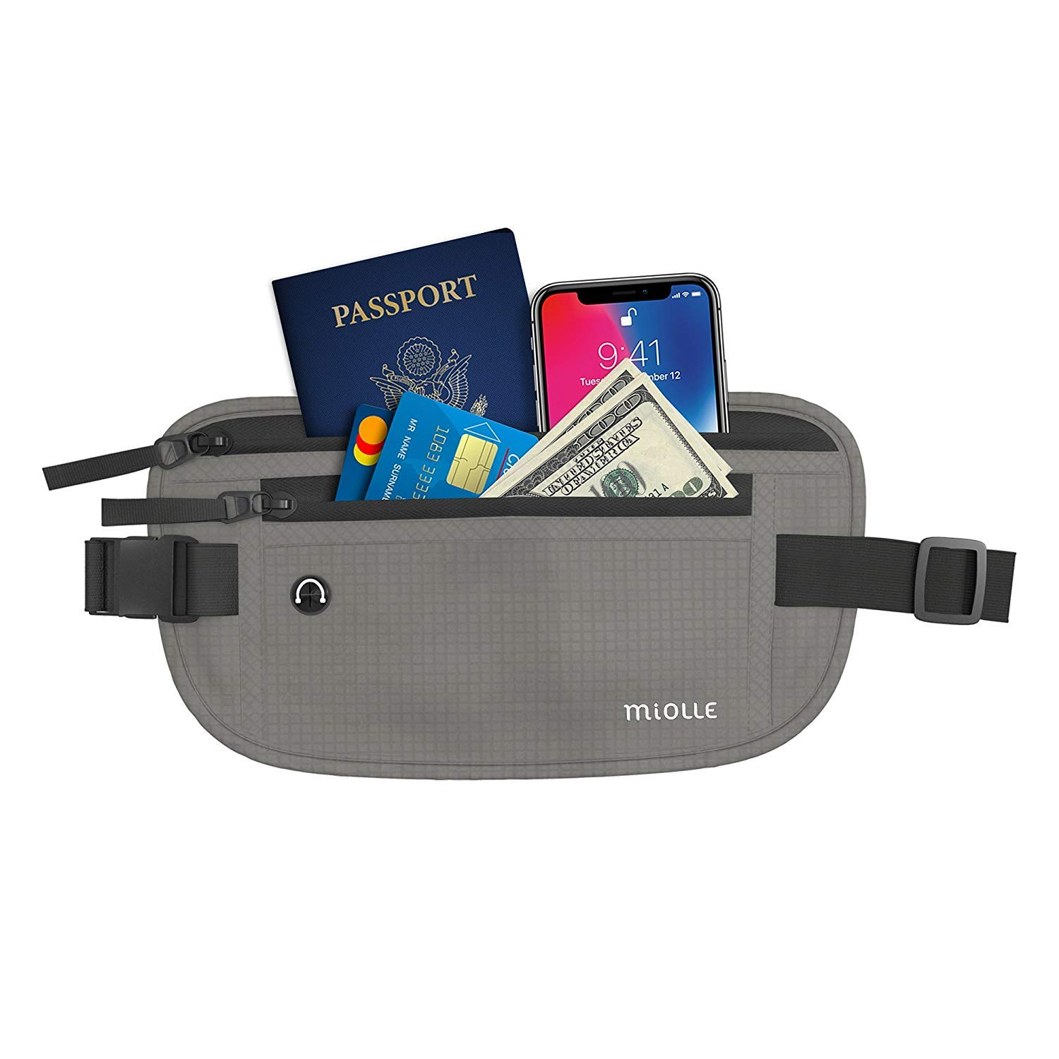 Money Belt for Travel RFID Waterproof - Running Pack - Waist Pack - Hidden Wallet - Travel Wallet - Security Money Belts (black, 0.5 inch thick)
