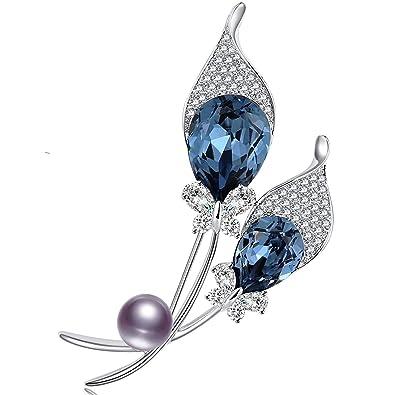 7a8737012 RAINBOW BOX Brooches for Women Fashion, Blue Rhinestone from Swarovski  Jewelry Brooch Pins with Black