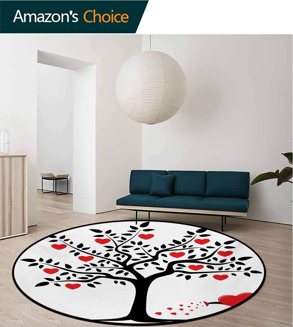 RUGSMAT Valentines Day Modern Washable Round Bath Mat,Love Themed Tree with Heart Romance Fruits Leaves Forest Couple Art Non-Slip Bathroom Soft Floor Mat Home Decor,Round-63 Inch Black Vermilion