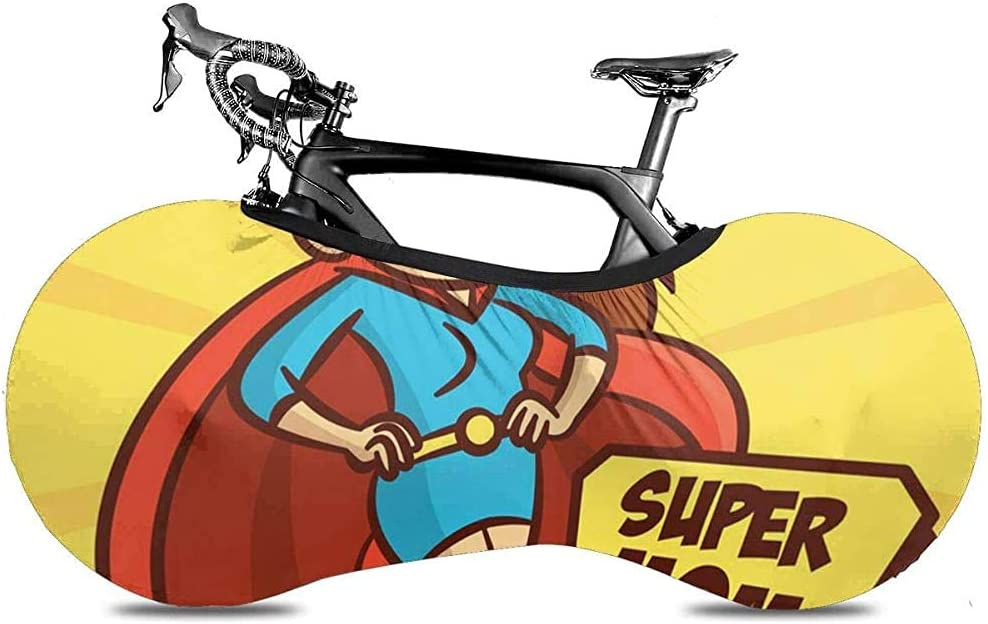 Cubierta de Rueda de Bicicleta, Cubierta de Bicicleta - Cartoon Blue Girl Su-per-Heroes Super Mom Family Red Comic Character