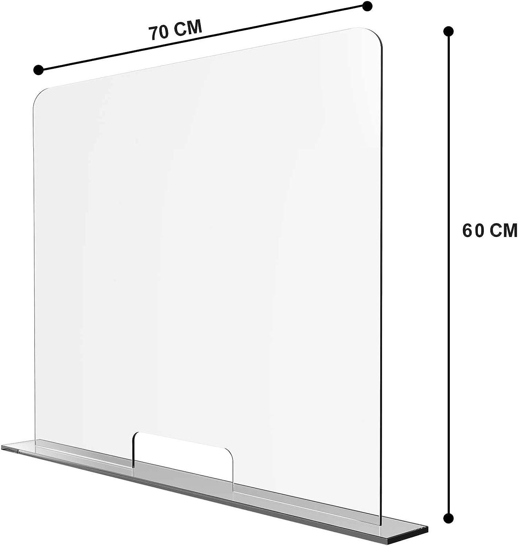 Solarplexius Mamparas de Protección, Escudo de Acrílico Transparente Plexiglass para Mostradores y Ventillas de Transacciones, Protección contra Estornudos y Tos (70 x 60 cm): Amazon.es: Hogar