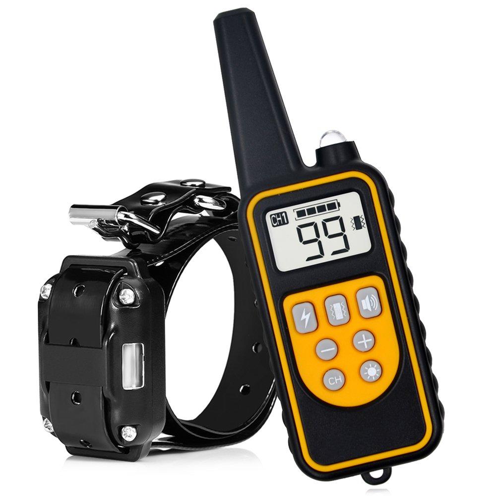 Wodondog Collier de Dressage pour Chiens avec Beep Vibra Choc étanche et Rechargeable Collier télécommande 800 verges