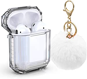 AirPods Case Cover, Zora Shockproof Protective Soft TPU Clear Apple Air Pods 1&2 Cover Case (Front LED Visible) Headphone Case with Cute Fur Ball Anti-Lost Keychain for Girls (Airpods 1, White)