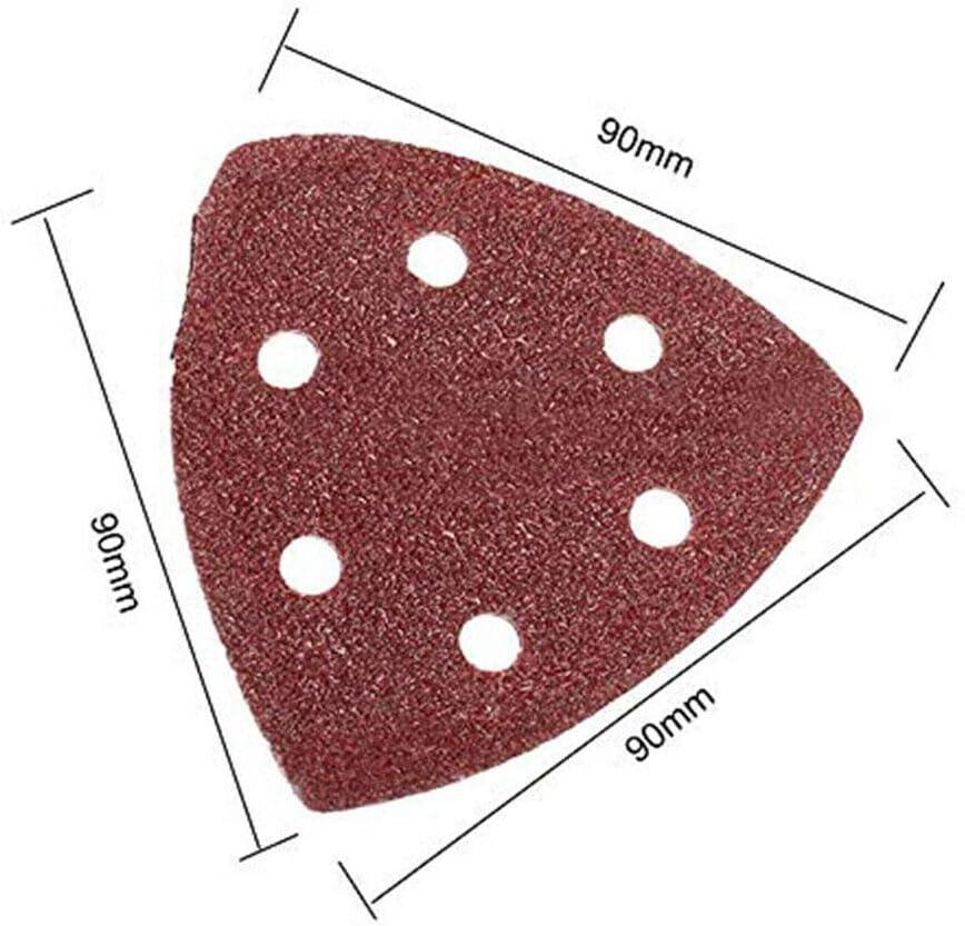 para lijado Papel de lija triangular pulido 90 x 90 x 90 mm 6 agujeros /óxido 40-240