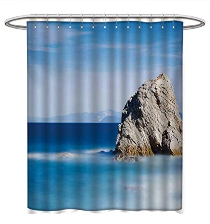 Anhuthree Italian Shower Curtains Mildew Resistant Big Formless Rock Seascape And Sky European Secret Paradise