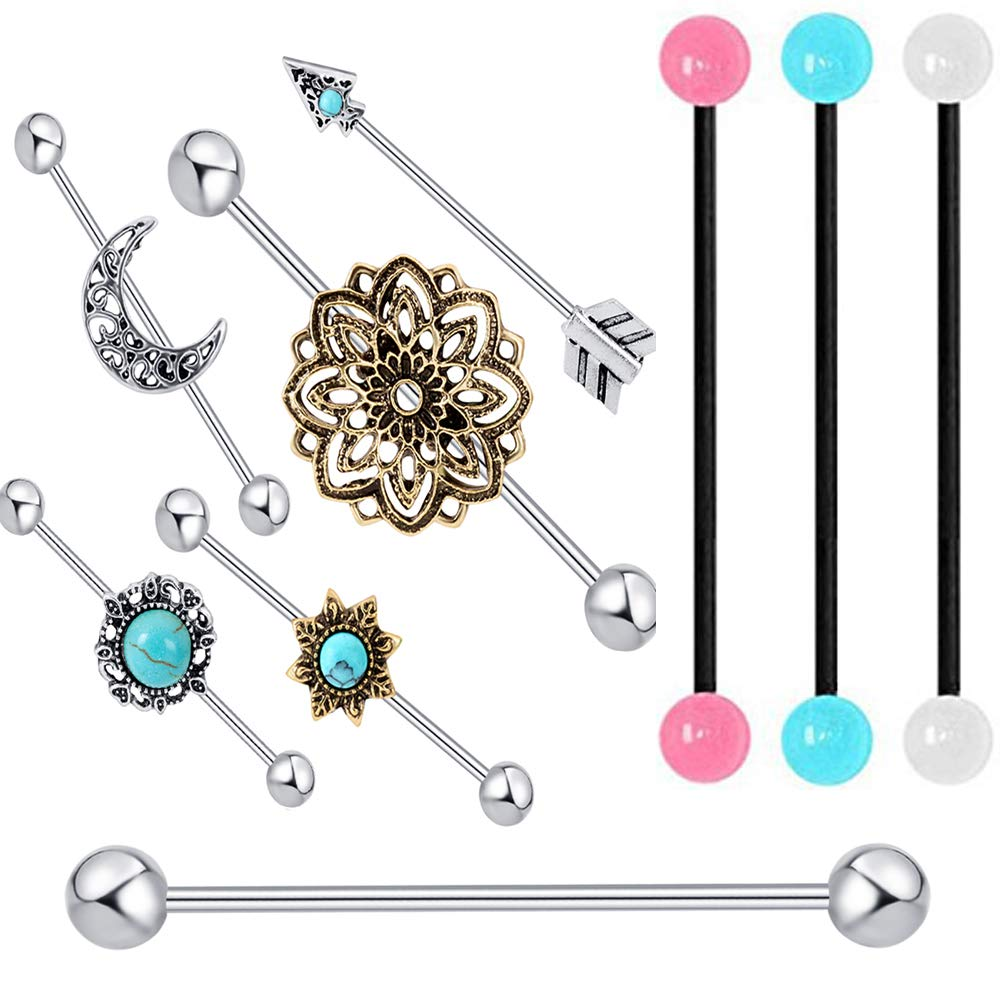 TIANCI FBYJS 9pcs Industrial Barbell Earring Tribal Arrow Cartilage14G Stainless Steel Turoquise Industrial Piercing Jewelry(9 Style 9pcs) TIANCIFBYJS B07BSFC9XF_US
