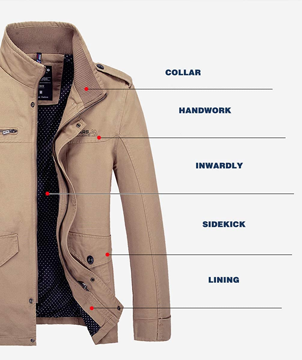 6e95eb5336e8 YuanDiann Homme Casual Style Militaire Grande Taille Trench Coat Veste Col  Debout Épaulette Respirant Coupe Vent Outdoor Blouson Manteau Outerwear  ...