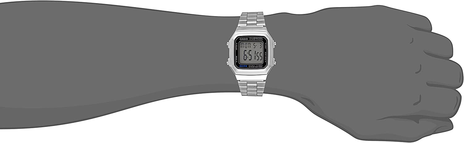Casio A178WA 1A Men's Quartz Digital WatchSilver Finish Resin Body Stainles Steel Strap with Grey Dial