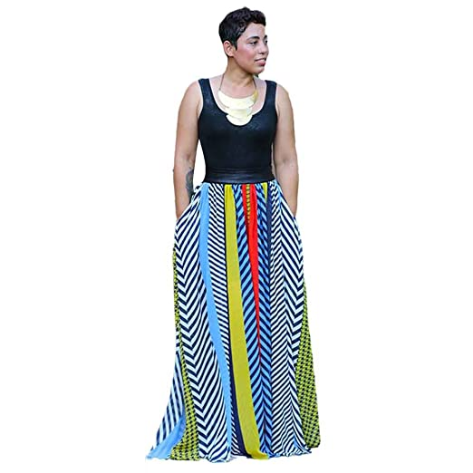 Women Dresses,ST.Dona Summer Dress Party Travel Bohemian Style Stripe Printed Patchwork Long