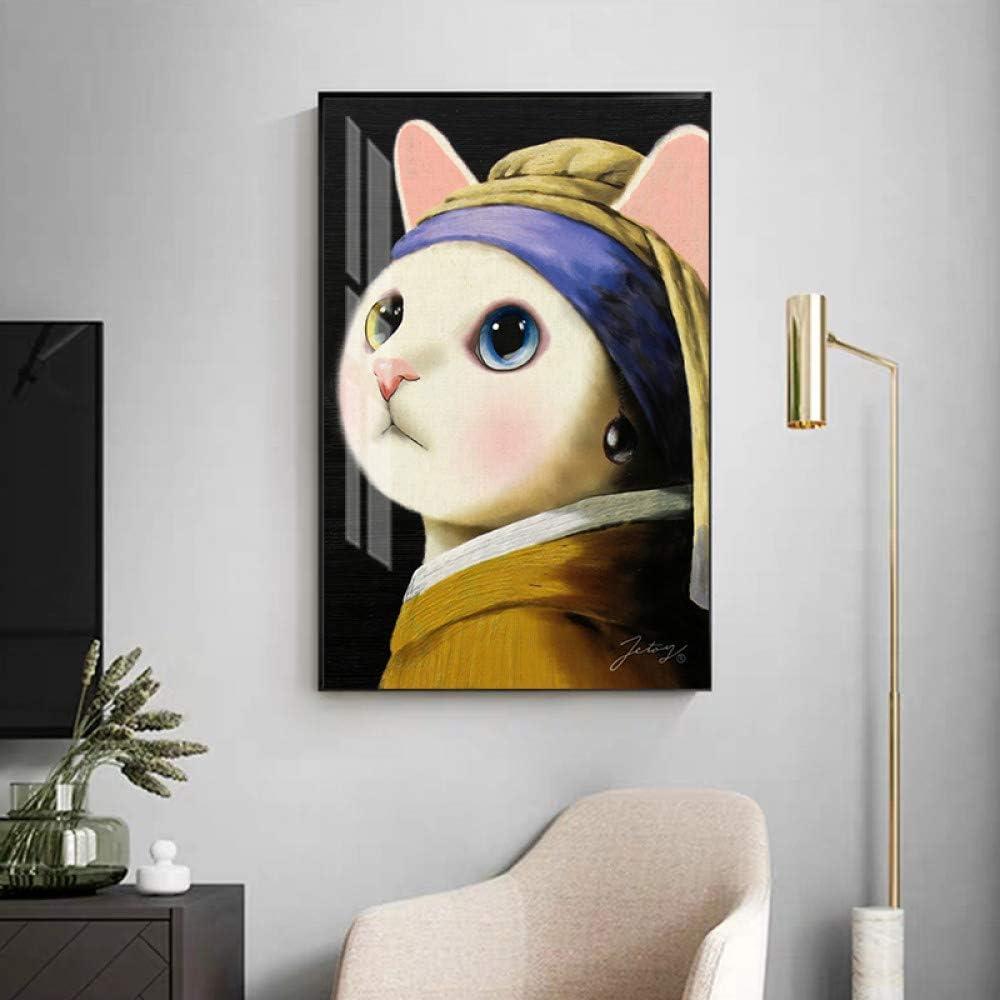 QAZEDC Pintura Decorativa Broma Chica de Pintura Famosa con Pendientes de Perlas Cartel de Arte de Lienzo e impresión para Sala de Estar Imagen de Arte de Pared HD-40x60cm