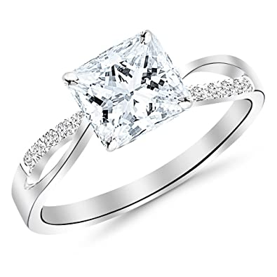 3cf490d5564820 Chandni Jewels 0.33 Cttw 14K White Gold Princess Cut Elegant Twisting Split  Shank Diamond Engagement Ring with a 0.25 Carat H-I Color SI2-I1 Clarity  Center ...