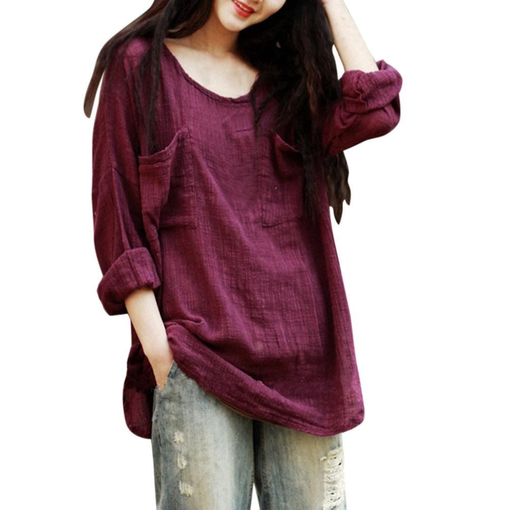 FORUU T Shirts for Women Cotton Linen Thin Section Loose Long Sleeve Blouse Pullover (M, Wine) by FORUU womens Tops & Tees (Image #5)
