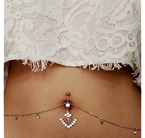 BodyJ4You Belly Button Ring 14G Chain Adjustable Waist Navel Banana Bar Summer Bikini Body Jewelry