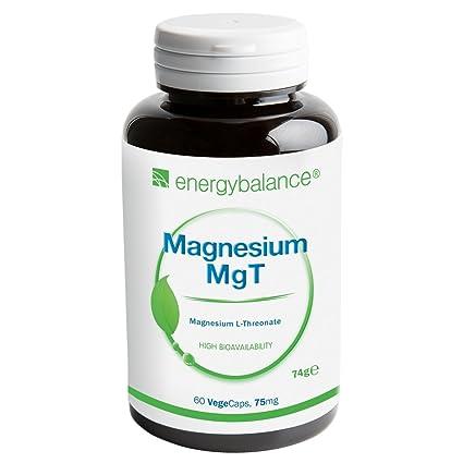 EnergyBalance Magnesium L-Threonate 60 Capsules à 75mg | Alta biodisponibilidad | Vegano y sin
