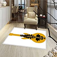 Detroit Decor Door Mats for inside High Rise Buildings Silhouette Reflection Electric Guitar Instrument Music Bath Mat Bathroom Mat with Non Slip 30x48 Yellow Black