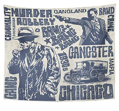 - Emvency Tapestry Polyester Fabric Print Home Decor Retro Gangsters 1930S Characters Words and Design Gun Detective Man Smoke Noir Wall Hanging Tapestry for Living Room Bedroom Dorm 50x60 inches