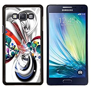 Líneas de líquido blanco burbujas de plástico- Metal de aluminio y de plástico duro Caja del teléfono - Negro - Samsung Galaxy A7 / SM-A700