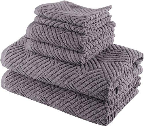 Smyrna Basket Weave Design 100-percent Luxury Turkish Cotton 6-Piece Towel Set, 600g, Dark Grey