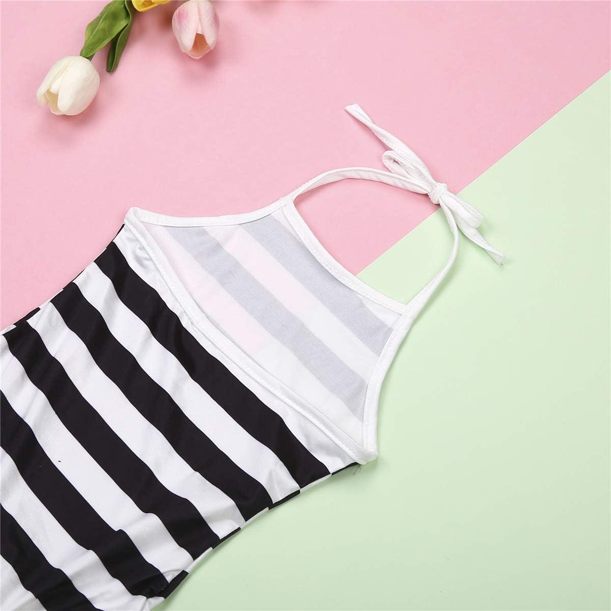 Mommy and Me Matching Swimsuit Mother Bikini Set Daughter One-Piece Strip Print Monokini Beach Wear
