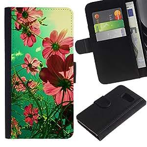 Planetar® Modelo colorido cuero carpeta tirón caso cubierta piel Holster Funda protección Para Samsung Galaxy S6 / SM-G920 ( Summer Field Green Pink Sunny )