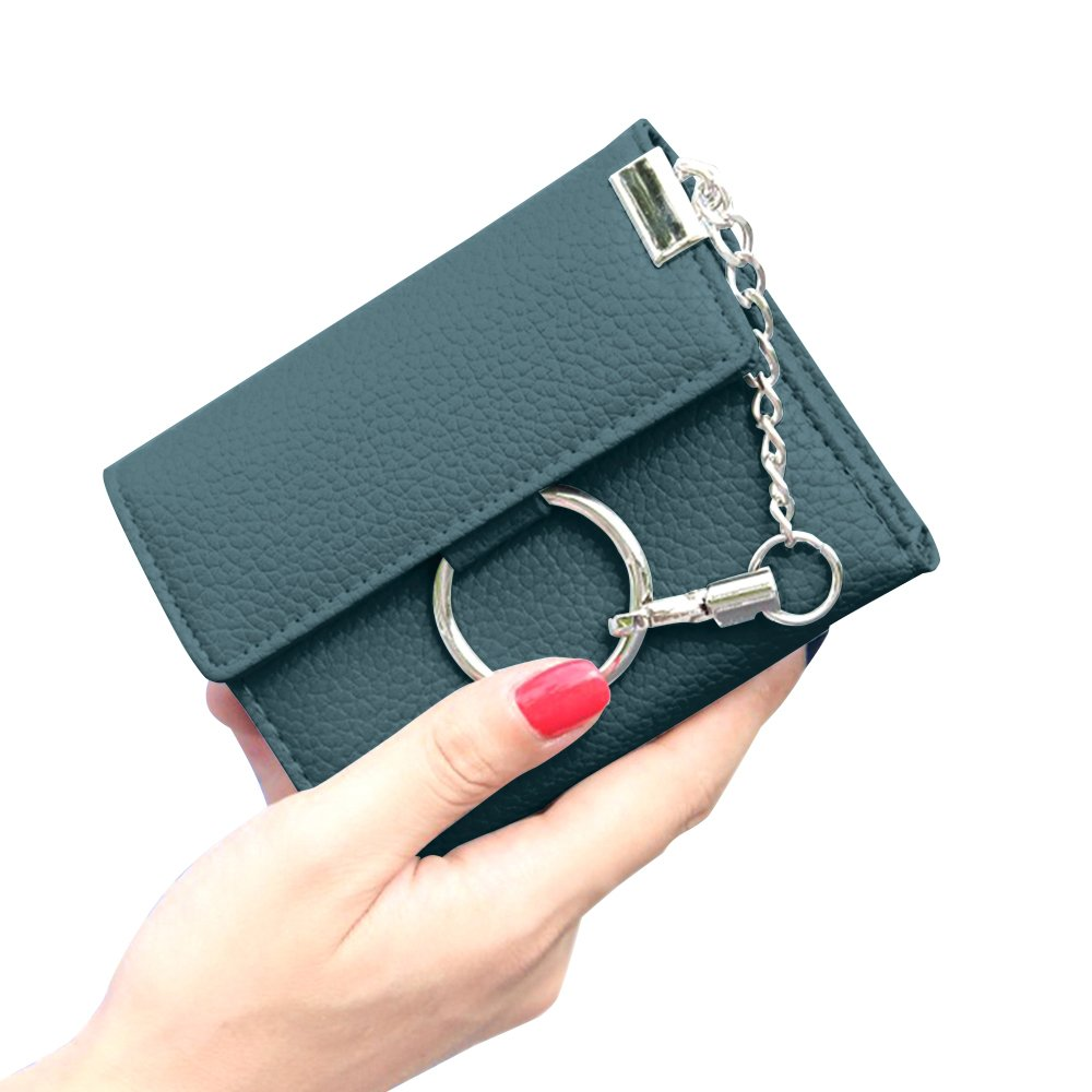 Kukoo Women Leather Wallet Short Trifold Purse Punk Style Chain Lock Clutch Bag Credit Card Holder Blue