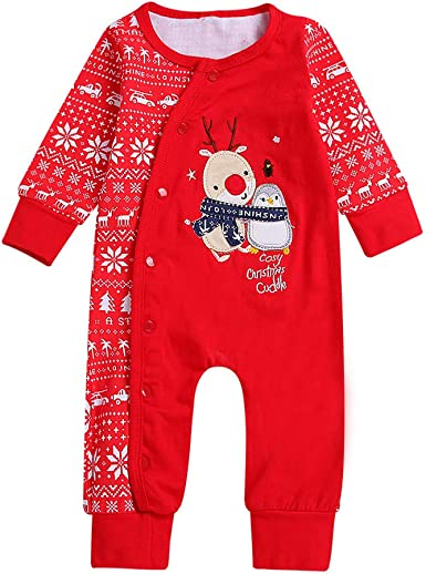 For 0-18 Months Baby,DIGOOD Christmas Toddler Baby Boys Girls Deer Print Striped Romper Jumpsuit Clothes