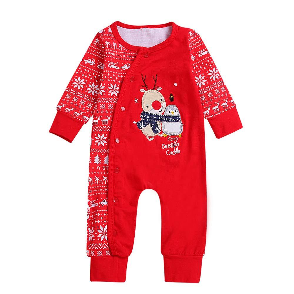 8323c22341b Mingfa Newborn Baby Boys Girls 2018 Newest Christmas Jumpsuit Romper Cute  Xmas Deer Snowflake Print Long Sleeve Playsuit  Amazon.co.uk  Clothing